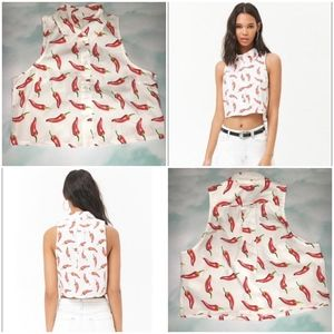 Forever 21 Chilli Peppers White Crop Shirt M